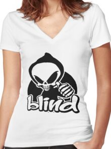 Blind skeleton. Women's Fitted V-Neck T-Shirt