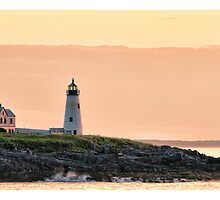 Wood Island Light Sunrise by Richard Bean