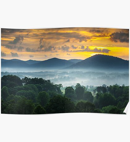Asheville NC Blue Ridge Mountains Sunset - Welcome to Asheville Poster