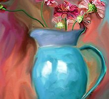 Zinnias in an Azure Pitcher by suzannem73