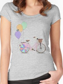 Love to Cycle on my Pink Bike Women's Fitted Scoop T-Shirt