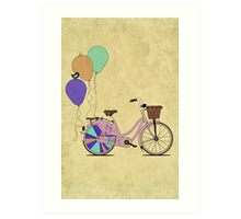 Love to Cycle on my Pink Bike Art Print