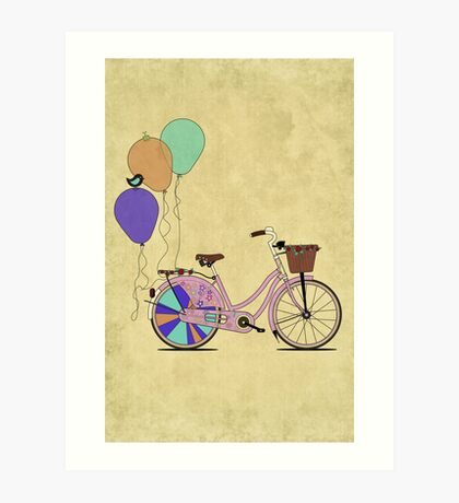 Love to Cycle on my Pink Bike Art Print
