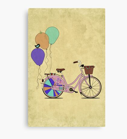 Love to Cycle on my Pink Bike Canvas Print