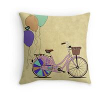 Love to Cycle on my Pink Bike Throw Pillow
