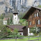 Quaint Alpine Scene in Lauterbrunnen, Switzerland by Mary-Elizabeth Kadlub