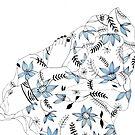 Blue flowers in my bed by Aleksandra Kabakova