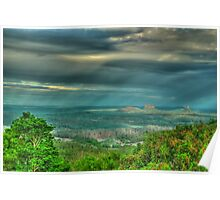 sun showers over the glasshouse mountains  Poster
