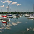 Sailboats moored at Lake Harriet by JimGuy