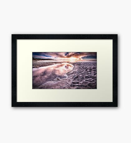 lake taupo under sunrise and morning frost reworked Framed Print