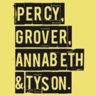Percy, Grover, Annabeth & Tyson by keyweegirlie