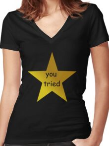 you tried (black) Women's Fitted V-Neck T-Shirt
