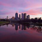 Melbourne CBD on dusk by becmcinnes