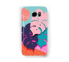 Mega - throwback memphis 1980's 80's 80s style art print bright colorful happy plants nature chic Samsung Galaxy Case/Skin