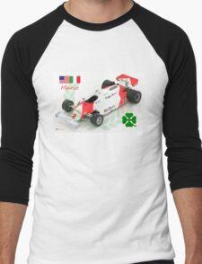 Mario Andretti and the Alfa Romeo 179c F1 Car 1981 Men's Baseball ¾ T-Shirt