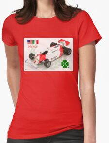 Mario Andretti and the Alfa Romeo 179c F1 Car 1981 Womens Fitted T-Shirt