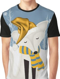 Winter Fox in Blue and Gold Graphic T-Shirt