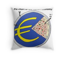 Caricature of the Italian economy as a Pizza Pie Chart Throw Pillow