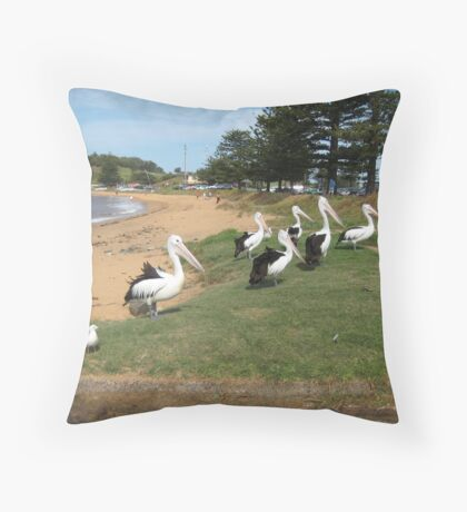 Pelicans gathering Throw Pillow