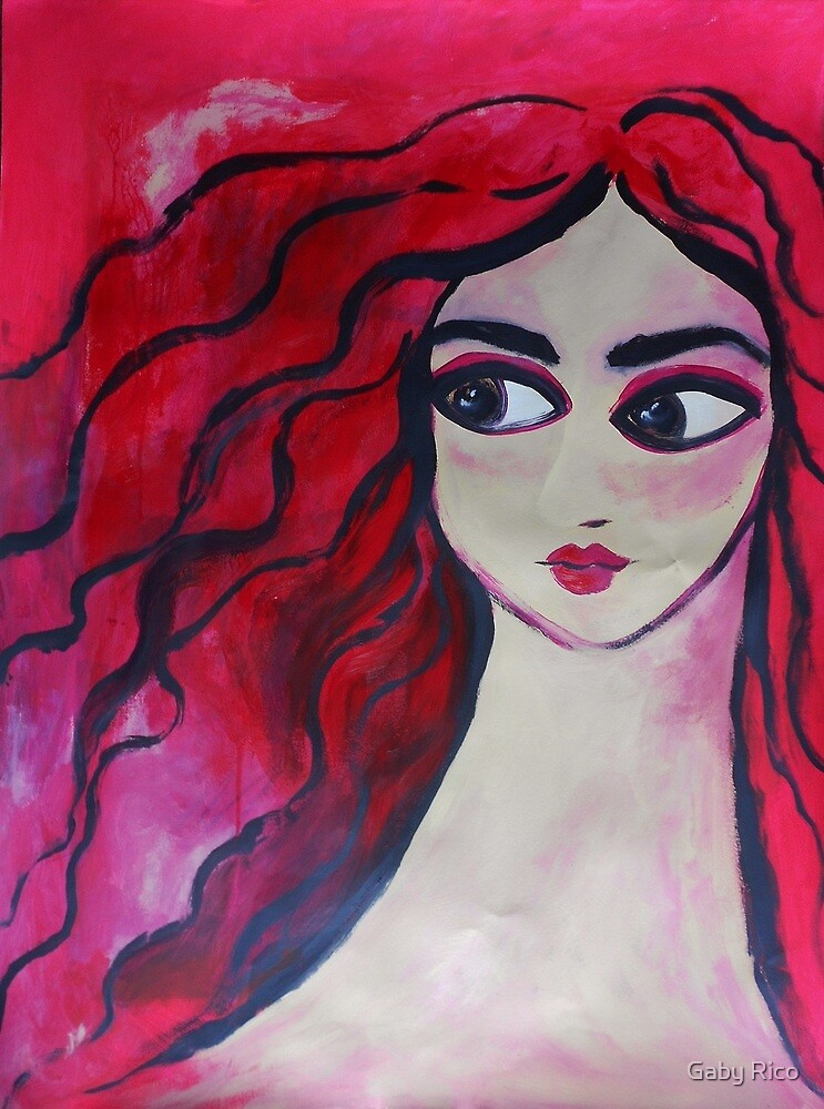 """Red Portrait"" (40x30 inch.)Tempera & Acrylic/ Paper/ Framed. by Gaby Rico"
