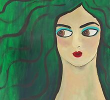 """Green Portrait"" (35x24 inch.) Tempera & Acrylic/ Paper/ Framed. by Gaby Rico"