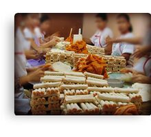 The making of  native cheese sticks... Canvas Print