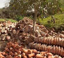 Earthern pots in the Garden of 5 senses along with view of parts of the garden by ashishagarwal74