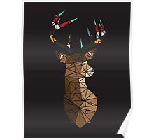 Deer with Multi Coloured Antlers Poster