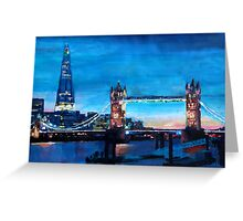 London Tower Bridge and The Shard at Dusk Greeting Card
