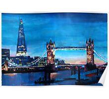 London Tower Bridge and The Shard at Dusk Poster