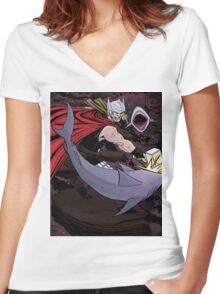 Thor Fighting Space Sharks Women's Fitted V-Neck T-Shirt