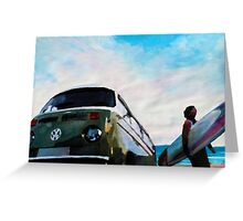 The Green VW Surf Bus Greeting Card