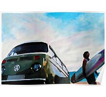 The Green VW Surf Bus Poster