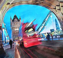 Tower Bridge and The Shard with Red London Bus by artshop77