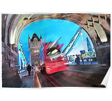 Tower Bridge and The Shard with Red London Bus Poster