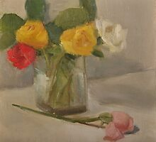 various roses in a glass vase by joycecolburn