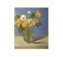glass vase with daffodils  and daisies Art Print