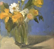 glass vase with daffodils  and daisies by joycecolburn