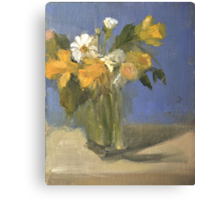 glass vase with daffodils  and daisies Canvas Print