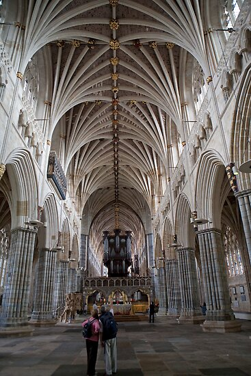 The interior of Exeter Cathedral, Exeter, Devon. by Keith Larby