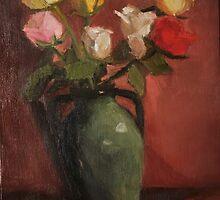 green vase and roses by joycecolburn