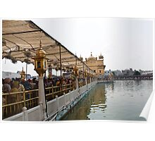Devotees thronging the causeway to the Golden Temple Poster