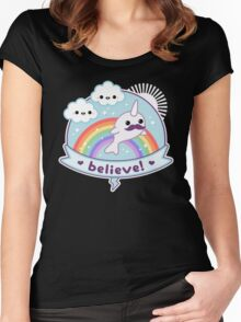Believe in Narwhals Women's Fitted Scoop T-Shirt