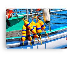 Yellow and Blue Buoys  Canvas Print
