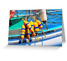 Yellow and Blue Buoys  Greeting Card