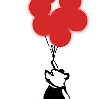 Flying Balloon Bear - Red Balloons Version by merimeaux
