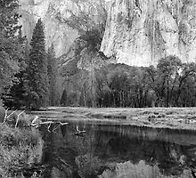 El Capitan Reflection in the Merced River, Yosemite, California by Pete Paul