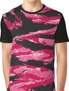 Pink Tiger Stripe Camouflage Pattern Graphic T-Shirt