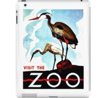Visit the Zoo, herons, vintage retro WPA iPad Case/Skin