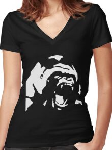 Angry Gorilla - White Women's Fitted V-Neck T-Shirt